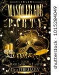 masquerade gold flyer carnival... | Shutterstock .eps vector #1015284049