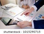 business colleagues meeting... | Shutterstock . vector #1015290715
