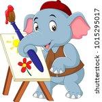 Cartoon Cute Elephant Painting...