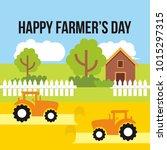 happy farmer's day illustration | Shutterstock .eps vector #1015297315