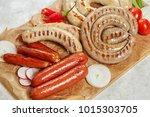 set of grilled pork hot... | Shutterstock . vector #1015303705