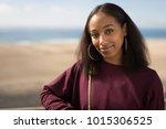 young black woman face portrait ... | Shutterstock . vector #1015306525