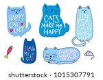 happy crazy love cat lady... | Shutterstock .eps vector #1015307791