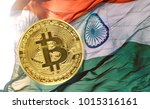 bitcoin coins on india flag ... | Shutterstock . vector #1015316161