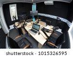 interior of a radio studio with ... | Shutterstock . vector #1015326595