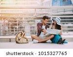 hipster tourist traveler young  ... | Shutterstock . vector #1015327765