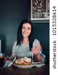 cheerful woman is about to eat  ... | Shutterstock . vector #1015328614
