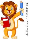 cartoon lion holding book and... | Shutterstock .eps vector #1015331125