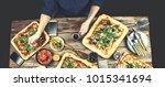 home made italian pizza ... | Shutterstock . vector #1015341694