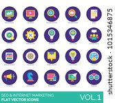 seo flat icons. search engine... | Shutterstock .eps vector #1015346875