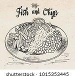 traditional english dish fish... | Shutterstock .eps vector #1015353445