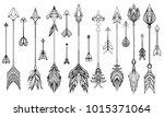 set of hand drawn boho arrows.... | Shutterstock .eps vector #1015371064