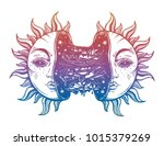 sun broken in two half open and ... | Shutterstock .eps vector #1015379269