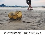 tourists with plastic garbage... | Shutterstock . vector #1015381375