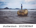 tourists with plastic garbage... | Shutterstock . vector #1015385869