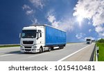 truck transports goods by road  ... | Shutterstock . vector #1015410481
