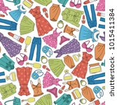 seamless fashion pattern.... | Shutterstock .eps vector #1015411384