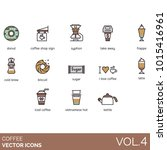 coffee icons. donut  shop sign  ... | Shutterstock .eps vector #1015416961