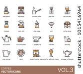 coffee vector icons. aeropress  ... | Shutterstock .eps vector #1015416964