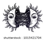 Sun broken in two half open and full of slime goo. Decadence eclipse. Creepy sci-fi, tattoo art. Isolated vector illustration. Trendy T-shirt print. Sad emotions. Halloween, weird spooky sticker.