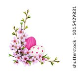 spring twigs of peach flowers... | Shutterstock . vector #1015429831
