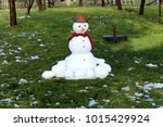 Cute Snowman Made From Freshly...