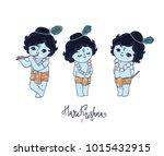 set of cute little krishna.... | Shutterstock .eps vector #1015432915