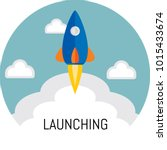 flat icon of launching | Shutterstock .eps vector #1015433674