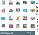 video production icons. movie... | Shutterstock .eps vector #1015434319