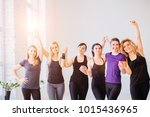 group of young sporty girls... | Shutterstock . vector #1015436965