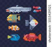 fish pixel art icons. tropical... | Shutterstock .eps vector #1015439521