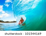 body boarder on large wave... | Shutterstock . vector #101544169