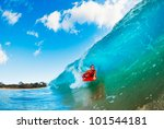 body boarder on large wave... | Shutterstock . vector #101544181