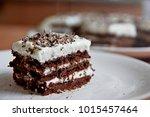 Slice Of Chocolate Cake White...
