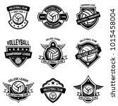 volleyball emblems on white... | Shutterstock .eps vector #1015458004