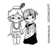 cute little krishna and radha | Shutterstock .eps vector #1015463197