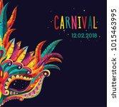 carnival mask. happy carnival... | Shutterstock .eps vector #1015463995