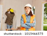 young woman as apprentice of... | Shutterstock . vector #1015466575