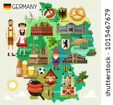 map of germany and travel icons.... | Shutterstock .eps vector #1015467679