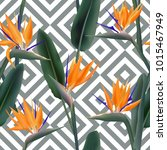 bird of paradise tropical... | Shutterstock .eps vector #1015467949