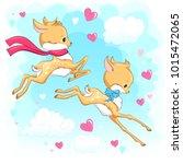 cute baby deers in the sky with ...   Shutterstock .eps vector #1015472065