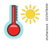 thermometer with hot icon.... | Shutterstock .eps vector #1015478434
