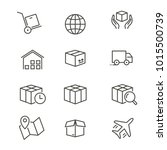 logistics   line vector icon... | Shutterstock .eps vector #1015500739