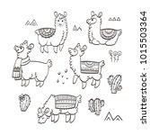 cute outline llamas. ink vector ... | Shutterstock .eps vector #1015503364