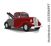old vintage tow truck vector... | Shutterstock .eps vector #1015506997