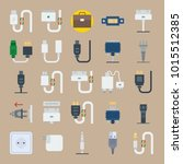 icons connectors cables with... | Shutterstock .eps vector #1015512385