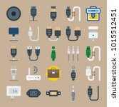 icons connectors cables with... | Shutterstock .eps vector #1015512451