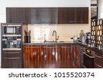 front view in luxury kitchen... | Shutterstock . vector #1015520374