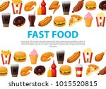 fast food background. easily... | Shutterstock .eps vector #1015520815