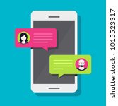 concept of a mobile chat or... | Shutterstock .eps vector #1015523317